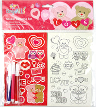 Load image into Gallery viewer, Valentine's Day Color-in Sticker Set with Markers Party Favors, 12 Pack