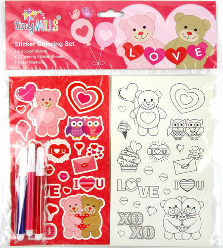 Valentine's Day Color-in Sticker Set with Markers Party Favors, 12 Pack