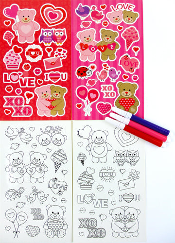 Valentine's Day Color-in Sticker Set with Markers