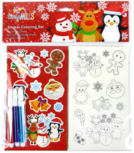 Load image into Gallery viewer, Christmas Holidays Color-in Sticker Set with Markers