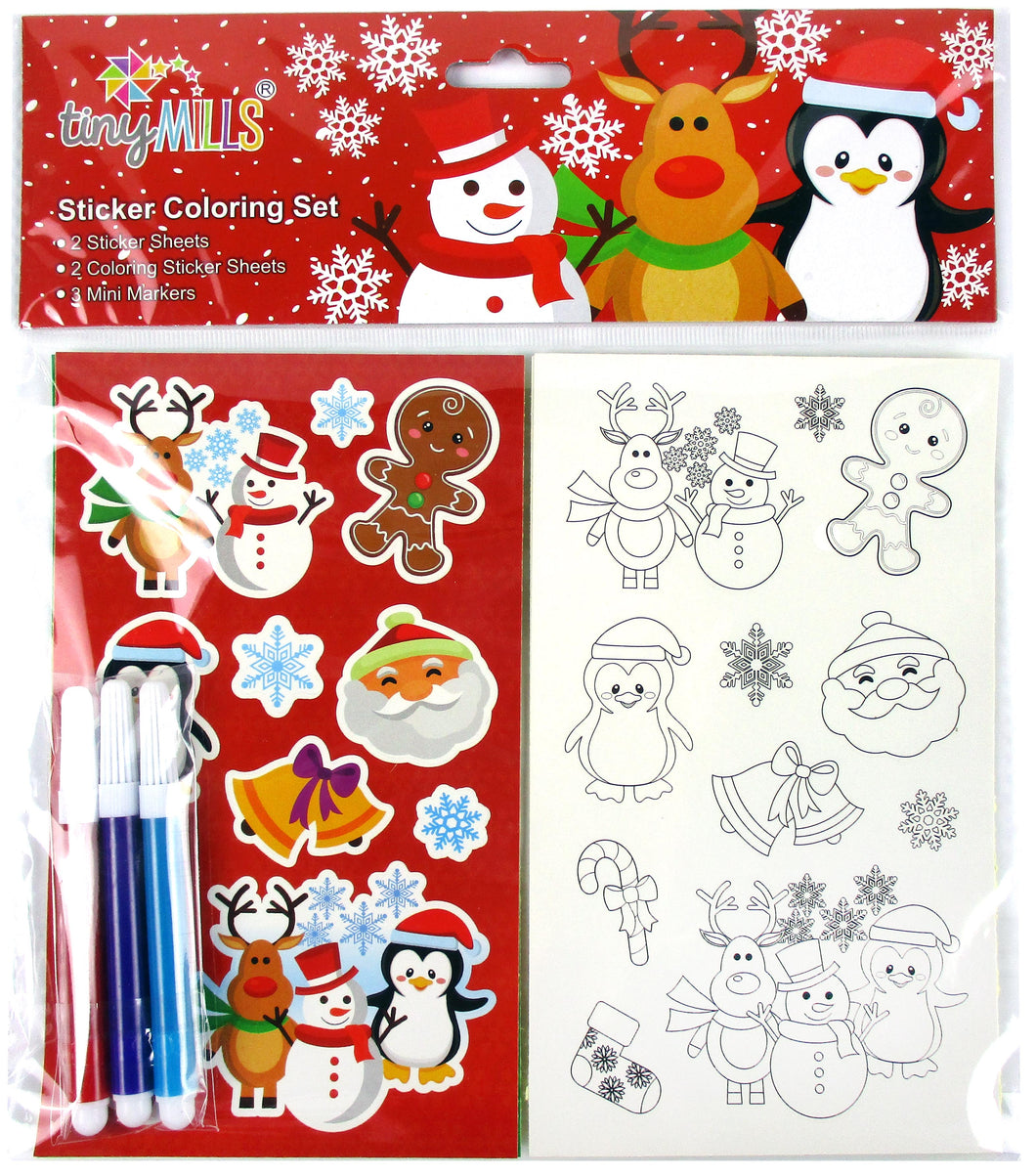 Christmas Holidays Color-in Sticker Set with Markers Party Favors, 12 Pack