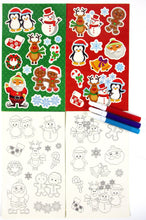 Load image into Gallery viewer, Christmas Holidays Color-in Sticker Set with Markers Party Favors, 12 Pack