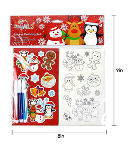 Christmas Holidays Color-in Sticker Set with Markers