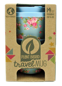TINYMILLS Eco-Friendly Reusable Plant Fiber Travel Mug with Blue Floral Design