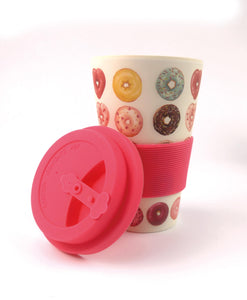 Eco-Friendly Reusable Plant Fiber Travel Mug with Donuts Design