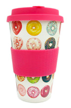 Load image into Gallery viewer, Eco-Friendly Reusable Plant Fiber Travel Mug with Donuts Design