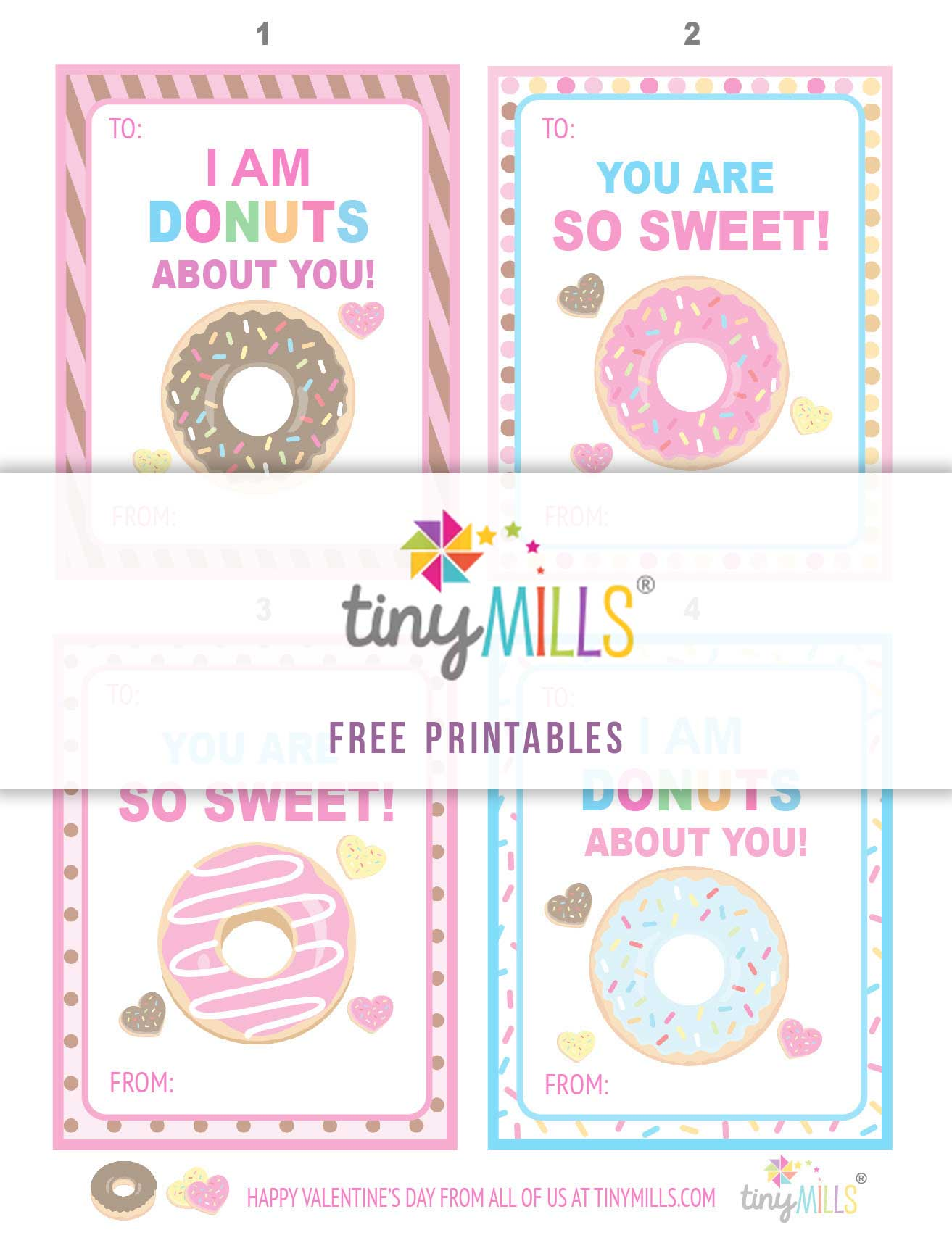 Free Printable Valentine S Day Cards Sweet Donuts Tiny Mills