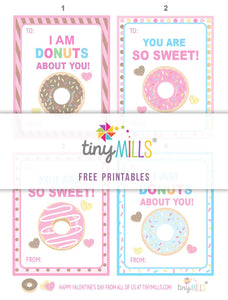 Free Printable Valentine's Day Cards - Sweet Donuts