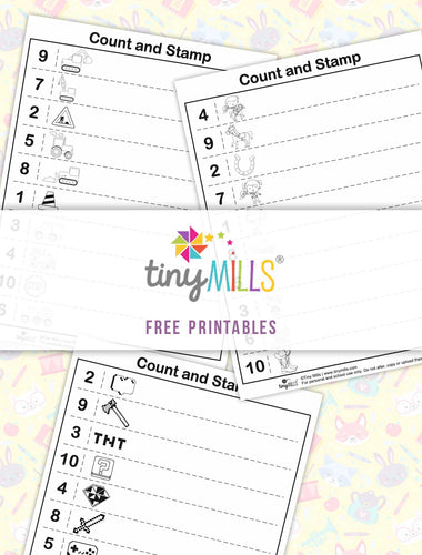 Free Printable Count & Stamp Math Worksheets for Boys - 3 Designs
