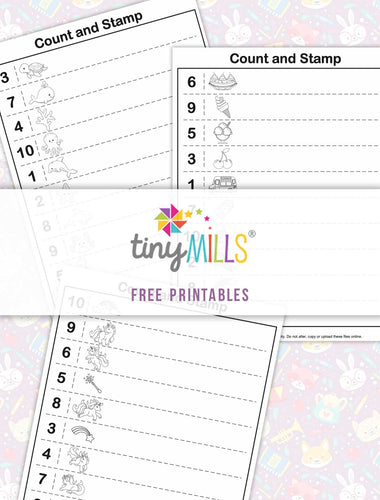 Free Printable Count & Stamp Math Worksheets for Girls - 3 Designs