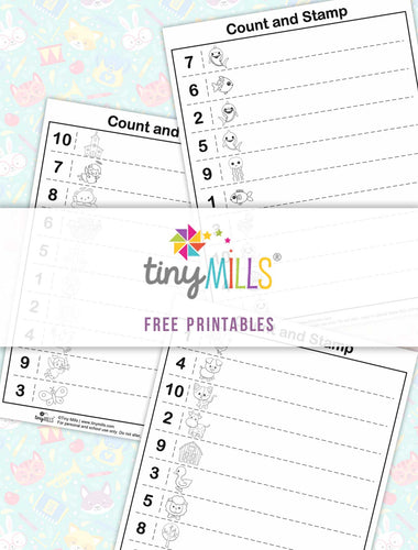 Free Printable Count & Stamp Math Worksheets for Kids of All Ages- 4 Designs