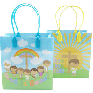 Jesus Loves You Religious Christian Themed Treat Bags Gift Bags - 12 Bags - Paper Bags | Tiny Mills®
