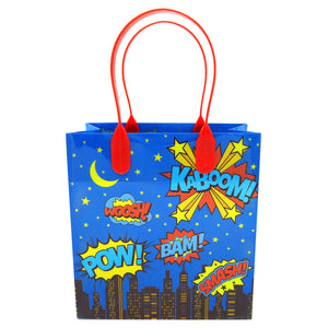 Superhero Text Party Favor Bags - Set of 6 or 12 - Party Bag | Tiny Mills®