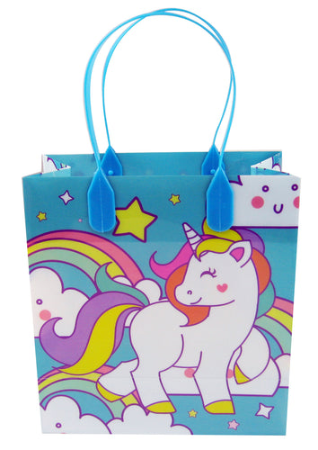 Blue Unicorn Party Favor Bags Treat Bags - Set of 6 or 12