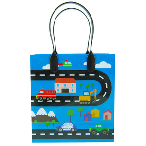 Cars Fire Trucks Transportation Party Favor Bags Treat Bags - 12 Bags - Paper Bags | Tiny Mills®