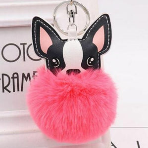 French Bulldog Pom Pom Keychain - Hot Pink