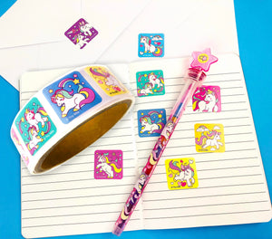 Unicorn Stickers 100 Stickers/Dispenser, Pack of 1, 6 or 12 Dispensers