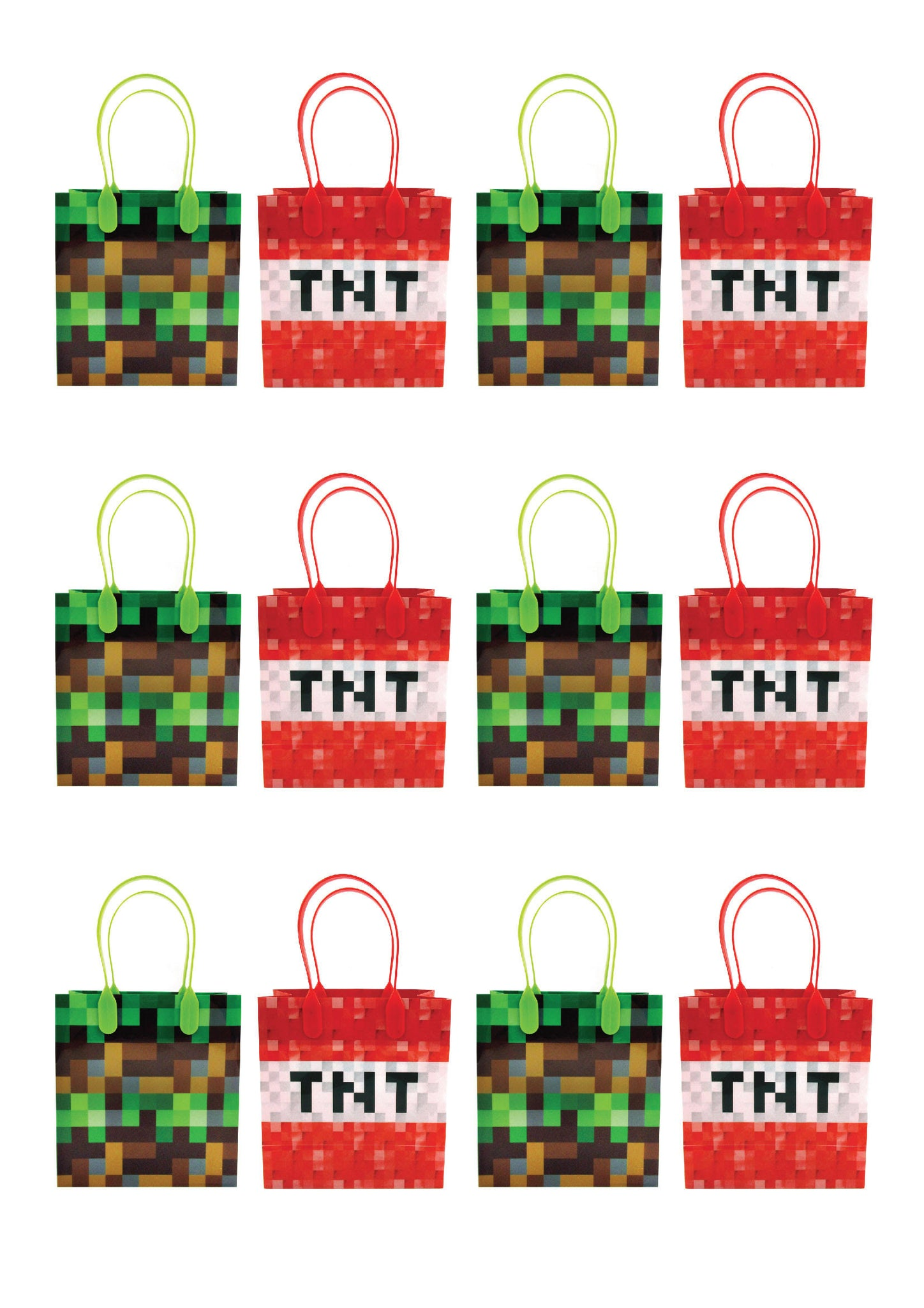 Pixels Miner Themed Party Favor Bags Treat Bags 12 Bags