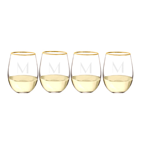 Personalized 19.25 oz. Gold Rim Stemless Wine Glasses (Set of 4) - PersonalizationPop Test Store