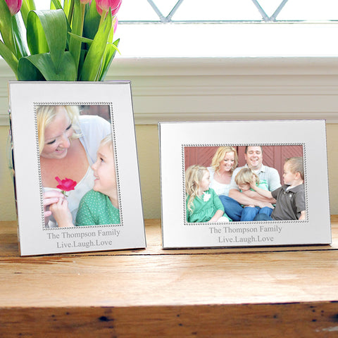 Vertical Beaded Silver Picture Frame