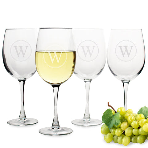 Personalized Circle Initial White Wine Glasses (Set of 4) - PersonalizationPop Test Store