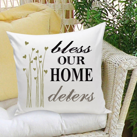 16x16 Family Name Throw Pillows - Bless Our Home - PersonalizationPop Test Store
