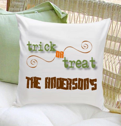 16x16 Family Name Throw Pillows - Trick or Treat - PersonalizationPop Test Store