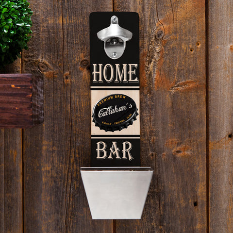 Personalized Wall Mounted Bottle Opener and Cap Catcher - Premium Brew