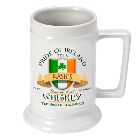 16oz. Ceramic Beer Stein - Irish Whiskey - PersonalizationPop Test Store