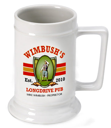 16oz. Ceramic Beer Stein - Longdrive - PersonalizationPop Test Store