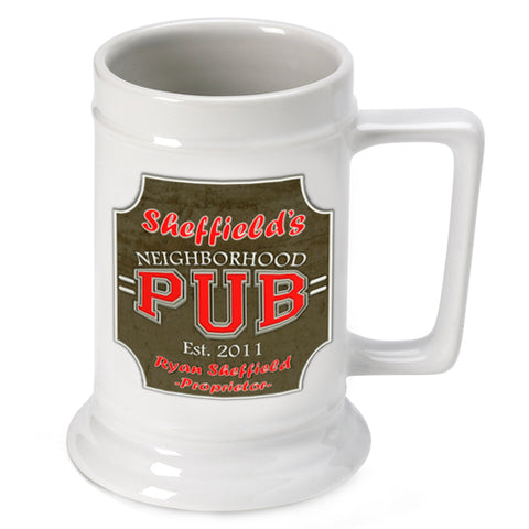 16oz. Ceramic Beer Stein - Neighbor - PersonalizationPop Test Store