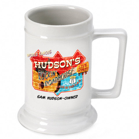 16oz. Ceramic Beer Stein - Roadhouse - PersonalizationPop Test Store