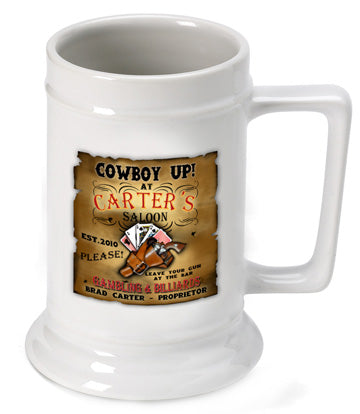 16oz. Ceramic Beer Stein - Saloon - PersonalizationPop Test Store