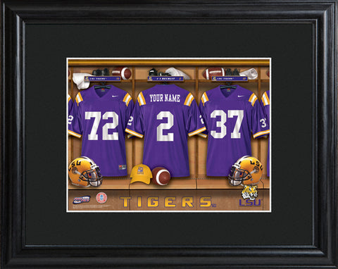 College Locker Room Print in Wood Frame - LSU