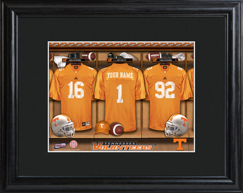 College Locker Room Print in Wood Frame - Tennessee