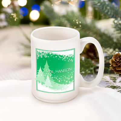 Winter Holiday Coffee Mug - Green Snowcaps