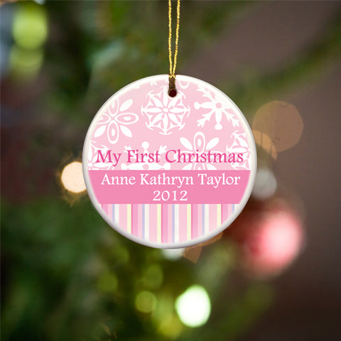 My First Christmas Ceramic Ornament - Pink