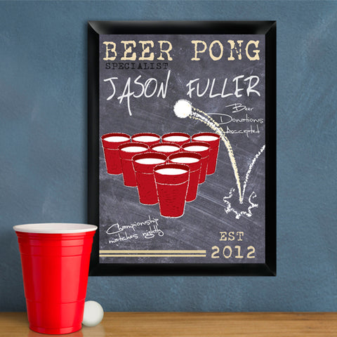 Beer Pong Traditional Sign - Champion - PersonalizationPop Test Store