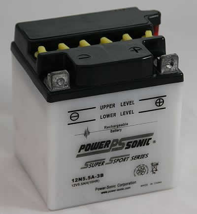 PowerSonic 12N5.5A-3B Powersport Conventional Battery - GetMyBattery.com