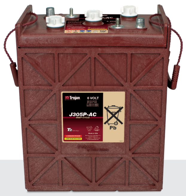 Trojan J305P-AC 6V 330AH Deep Cycle Flooded/Wet Lead Acid Battery - GetMyBattery.com