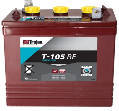 Trojan T-105 RE 6V 225AH Deep Cycle Flooded/Advanced Lead Acid Battery - GetMyBattery.com