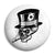 Ace of Spades - Smoking Top Hat Skull - Biker Button Badge