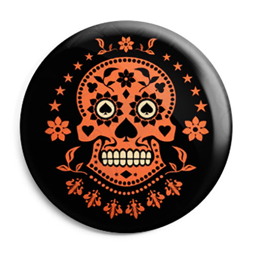 Ace of Spades - Mexican Sugar Skull - Button Badge