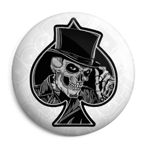 Ace of Spades - Top Hat Skull - Biker Button Badge