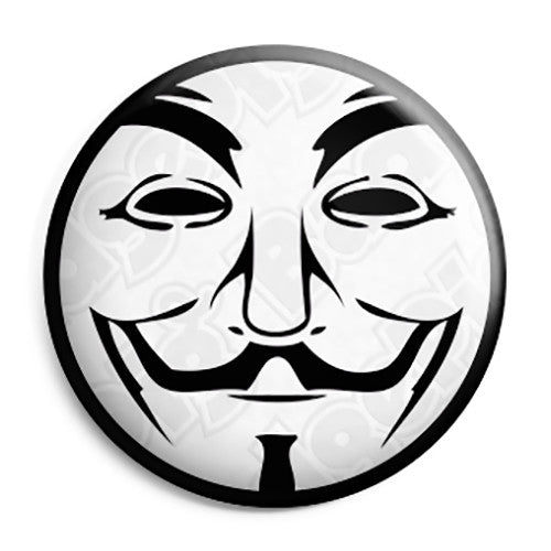 Anonymous - Vendetta Mask - Activist Hacktivist Button Badge