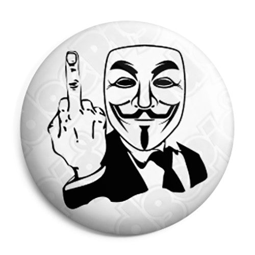 Anonymous - The Finger - Offensive Hacktivist Button Badge