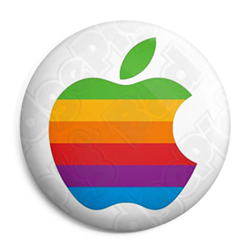 Apple - Mac Computer Rainbow Logo - Button Badge
