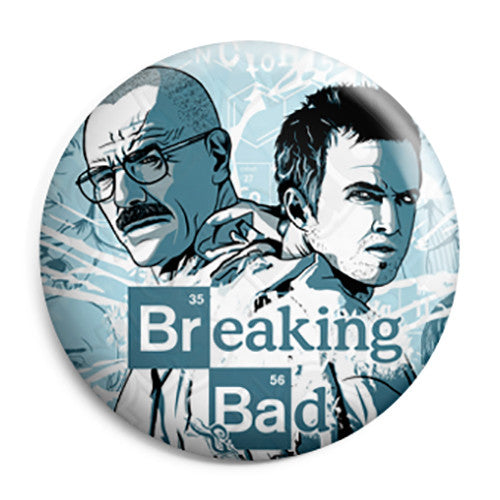 Breaking Bad - Walt and Jesse Blue Drawing - Button Badge