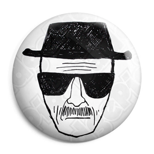 Breaking Bad - Walt Heisenberg Face Sketch - Button Badge