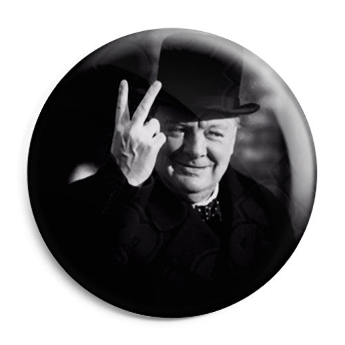 Winston Churchill - V for Victory World War 2 Pin Button Badge